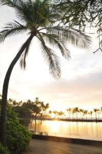 Boat In A-Bay Beach Sunset -Waikoloa Beach Resort on the Big Island of Hawaii